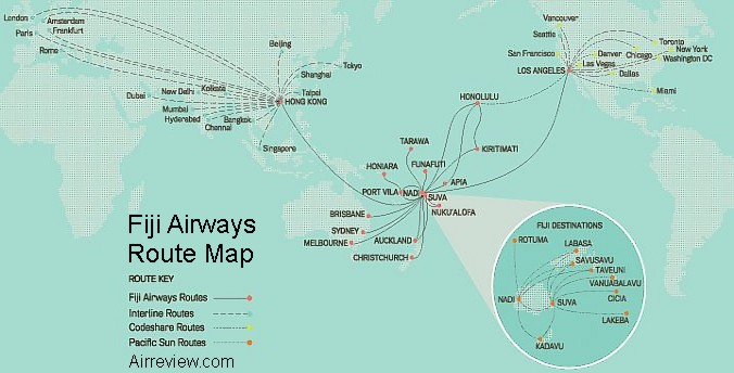 Fiji Airways International Route Map